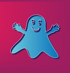 Ghost isolated sign blue 3d printed icon vector