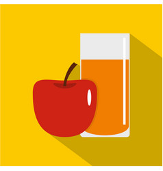 Glass of juice with red apple icon flat style vector