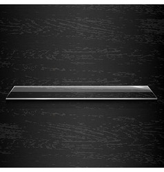 Glass Shelf On Black Wooden Background vector image vector image