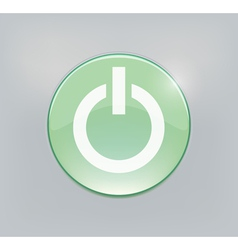 Green glowing power on or off button vector
