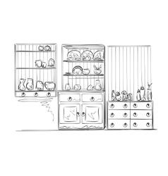 Hand drawn furniture sketch vector