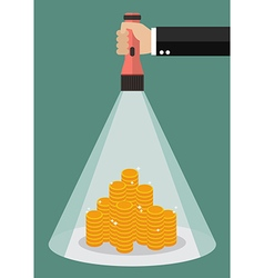 Hand holding flashlight glow to the money vector