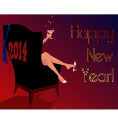 Happy New Year 2014 greeting card vector image vector image