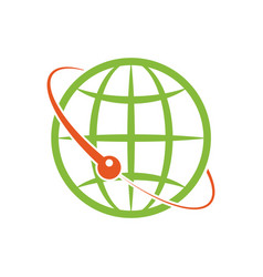 isolated design logo the green globe around vector image vector image