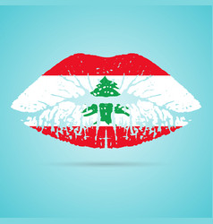 lebanon flag lipstick on the lips isolated on a vector image