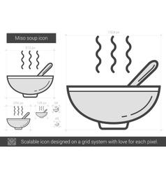 Miso soup line icon vector image vector image