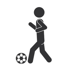 monochrome silhouette of man with soccer ball vector image