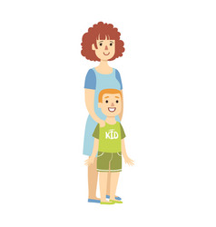 Mother with small son from happy vector
