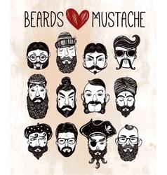 Mustache beard style set vector
