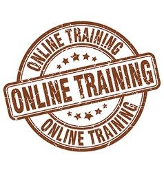 Online training brown grunge round vintage rubber vector