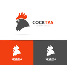 red rooster and cock logo combination vector image