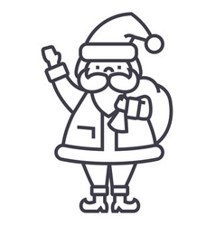 santa claus line icon sign vector image vector image