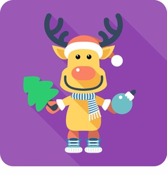 Santas reindeer icon flat design vector