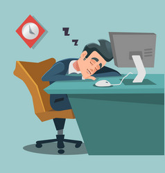 sleeping businessman tired business man at work vector image