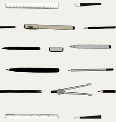 stationary set hand draw sketch seamless pattern vector image vector image