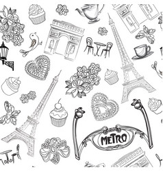 Travel paris seamless pattern vacation in europe vector