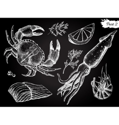 Vintage hand drawn seafood set vector