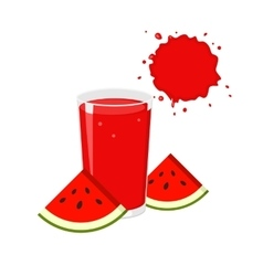 Watermelon juice and slices vector image vector image
