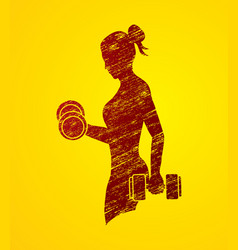 Woman exercise with dumbbell graphic vector