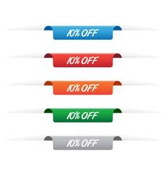 10 percent off paper tag labels vector image vector image