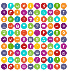 100 lamp icons set color vector