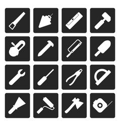 Black construction and building tools icons vector