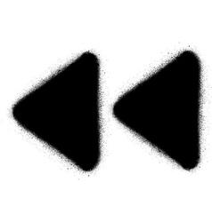 Fast backward media graffiti spray icon in black vector
