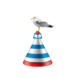Isolated realistic sea buoy with a seagull vector