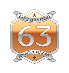 Sixty three years anniversary celebration silver vector