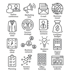 Business management icons in line style pack 12 vector