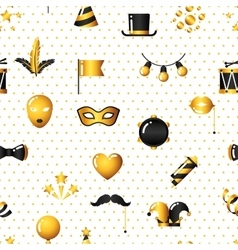 Carnival seamless pattern with gold icons and vector image