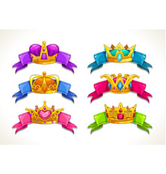 Cartoon golden crowns on the colorful ribbons vector