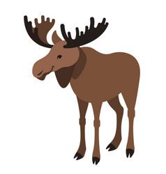 Cute smiling horned elk cartoon vector