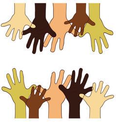 Hands up of different races colors nationalities vector