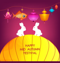Moon rabbits for celebration mid autumn festival vector