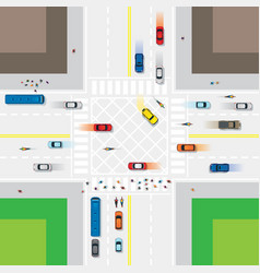 Road and junction with people and vehicles vector
