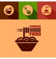 Flat chinese food icons vector