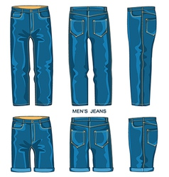 Man jeans pants and shorts vector
