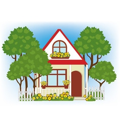 house in the garden vector image