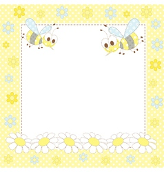 Cute frame with bees vector