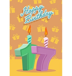 Happy birthday age 17 announcement and celebration vector