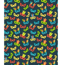 Seamless carnival masks pattern isolated on blue vector image