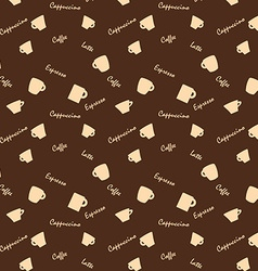 Coffee xups and names seamless background pattern vector