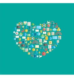 Heart social network with media icons background vector