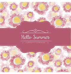 Watercolor floral card with message hello summer vector