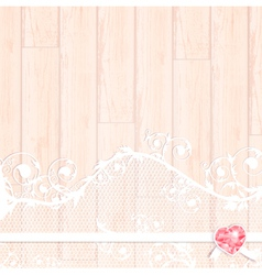 Lace frame with crystal heart vector