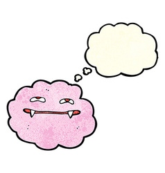 Cartoon pink fluffy vampire cloud with thought vector