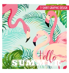 Flamingo and Tropical Flowers - for t-shirt vector image