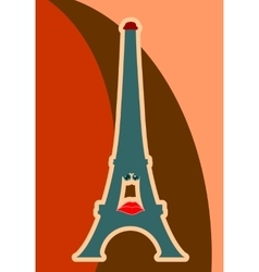 Eiffel tower in paris sad character vector