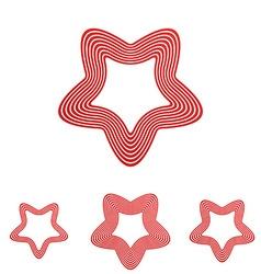 Red line satan star logo design set vector
